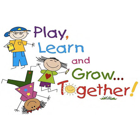 "Cartoon of Children with caption ""Play, Learn and Grow... Together!"""
