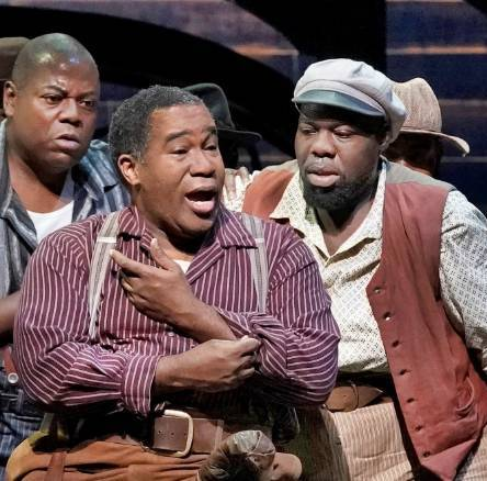 Brooks and other cast performing in broadway musical