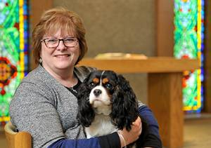 Marianne Burnett and Therapy Dog