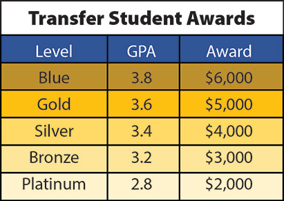 Transfer Scholarship Grid