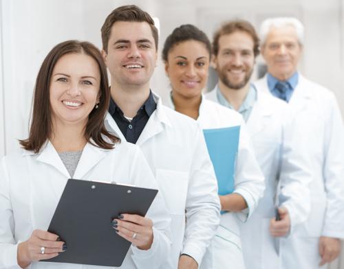 Five diverse nursing professionals