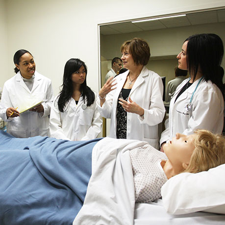 Nursing Students working in the Simulation Lab