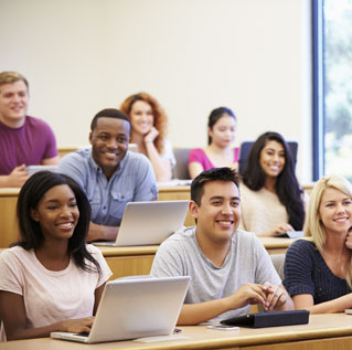 Close-up of students in lecture