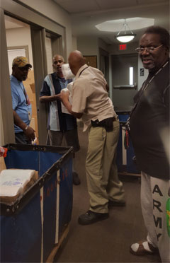Piquette Square Veterans receiving donations